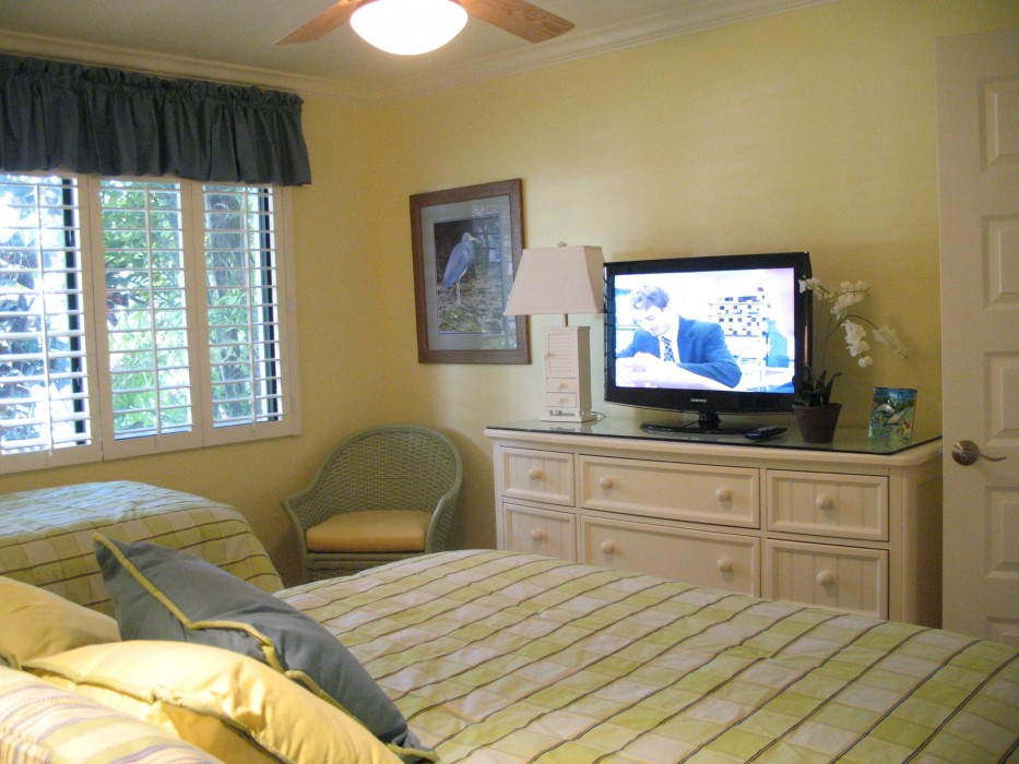 High-definition TV in guest bedroom