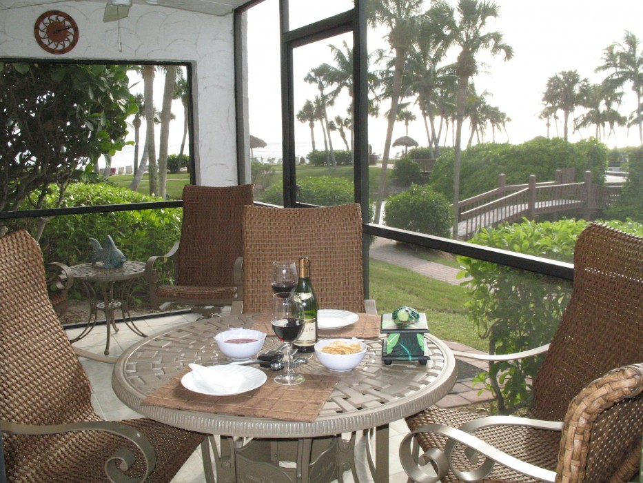 Enjoy a glass of wine on the lanai