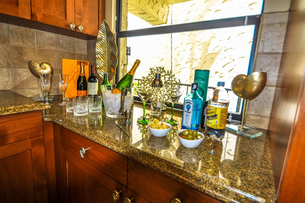 Set up a beverage station.  There is plenty of room in fully equipped spacious kitchen.