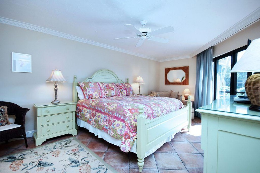 This is the large and very comfortable master bedroom which also looks out at the Gulf and the lagoon.