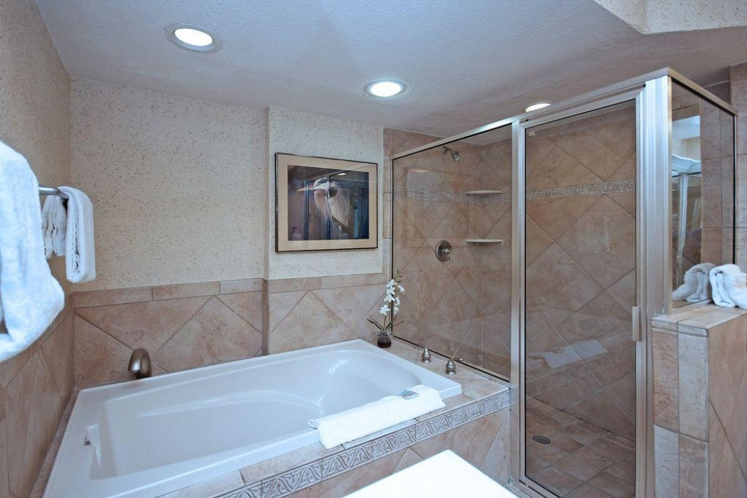 Master bath with deep soaking tub and over-sized shower.