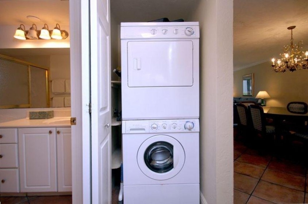 Full size washer/dryer.  You can pack light!