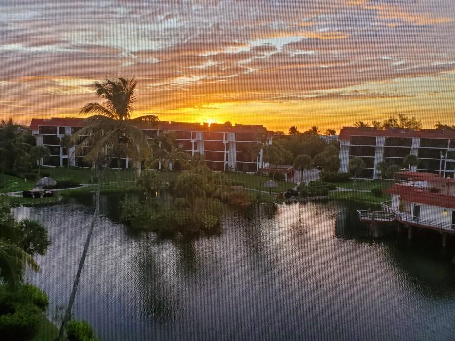 Sunrise view from condo's screened lanai