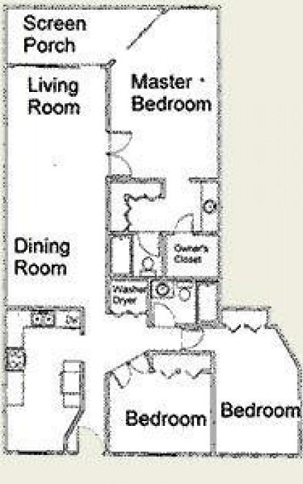 Floor plan showing layout of three bedrooms in C33 condo.