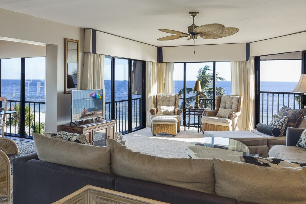 Take in the magnificent ocean views, sunrises and sunsets  from the spacious living room.