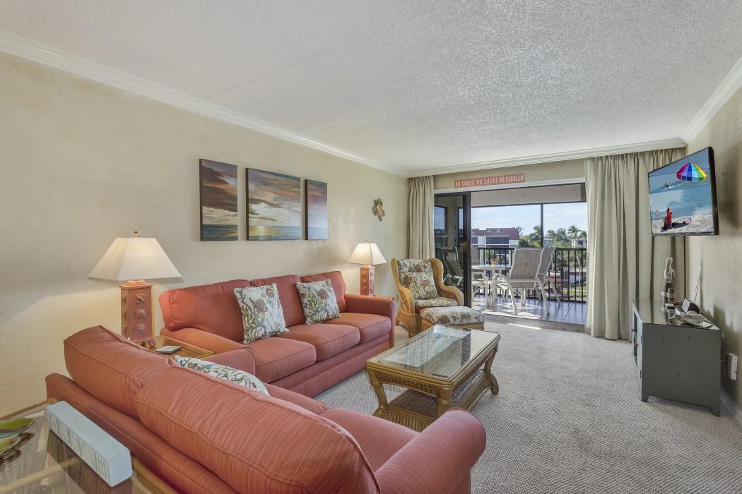 Comfortable living room with queen sleeper sofa