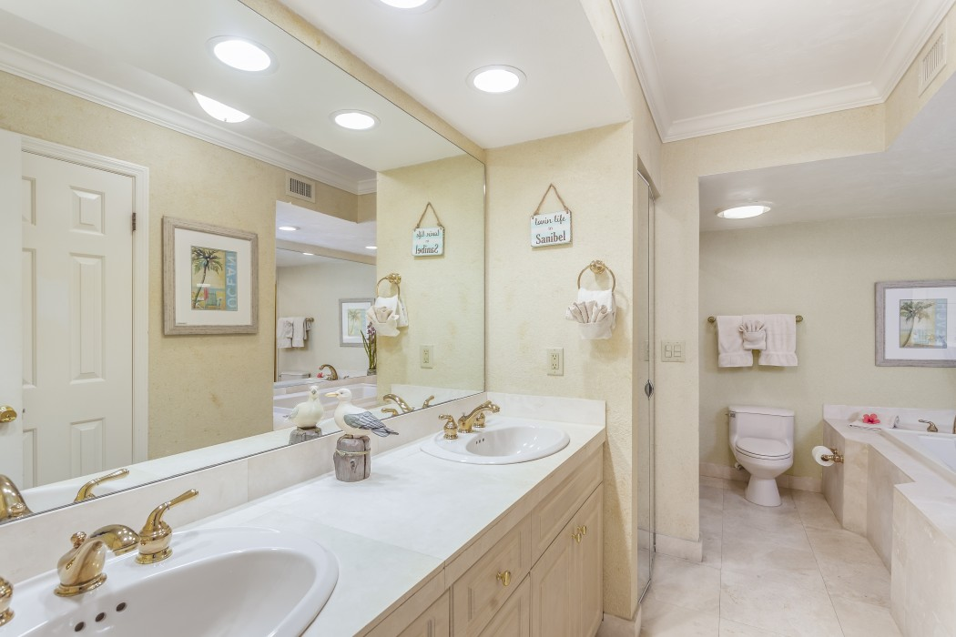 Luxurious master bath with two sinks