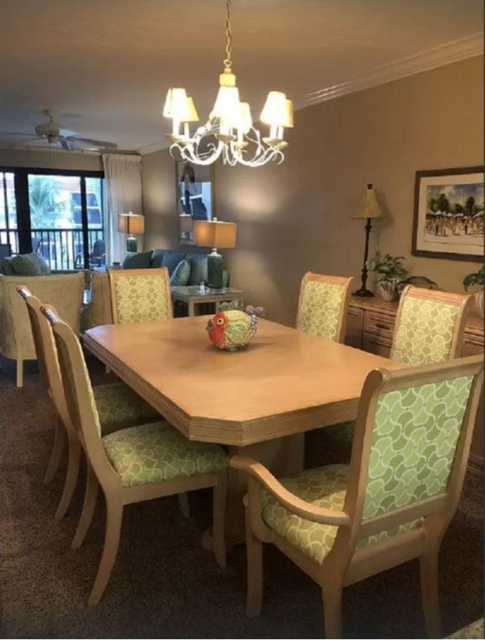 When you are not eating out at one of Sanibel's  restaurants you can enjoy a meal in the comfort of your own dining table. The table seats six and up to 8 with the extra leaves and is accompanied with a large buffet.