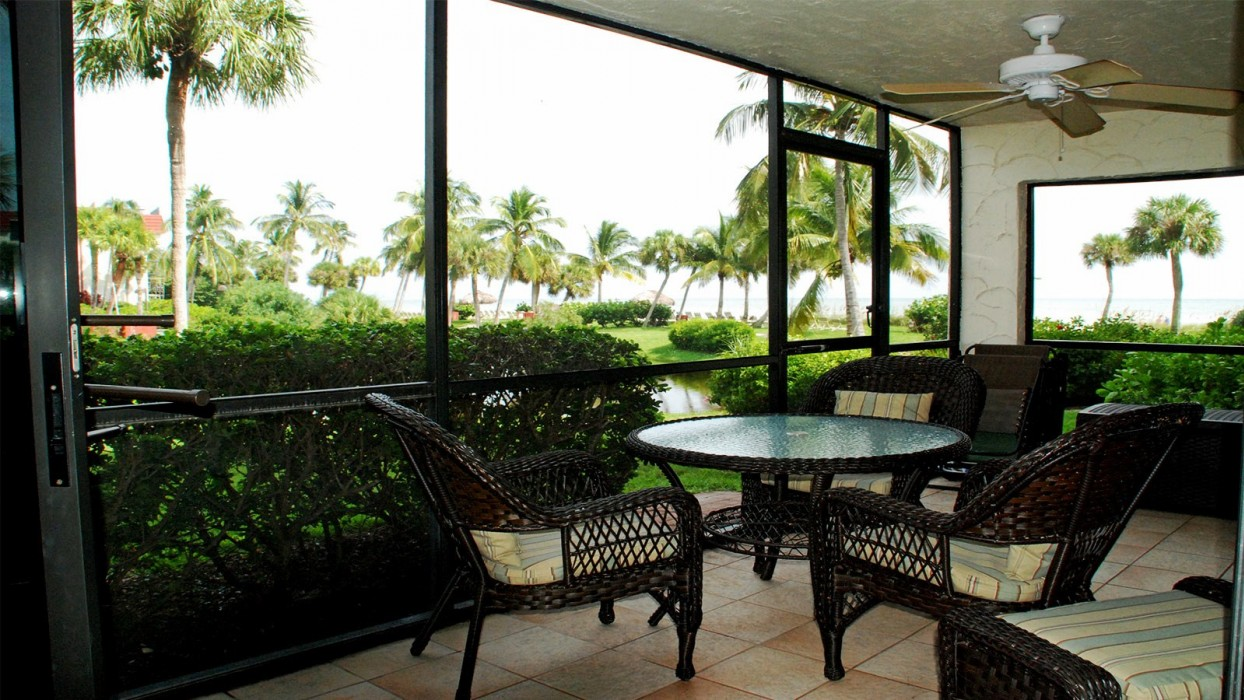 Lanai view with table