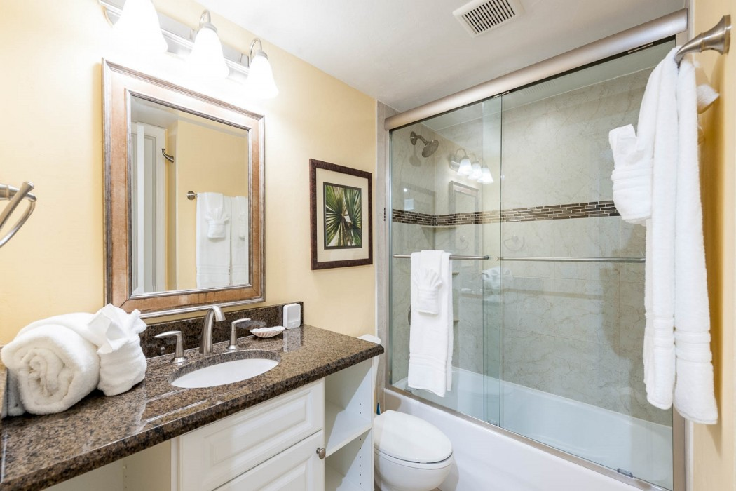The guest bath has plenty of vanity counter space and fully tiled tub/shower.