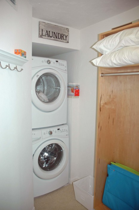 Full size washer dryer and walk- in closet